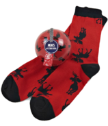 Little Blue House Men's Socks in Ornament Moose on Red
