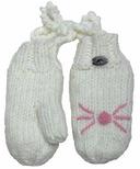 Calikids Iceland Acrylic Knit & Berber Mitten White