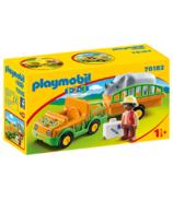 Playmobil 1.2.3. Zoo Vehicle with Rhinoceros