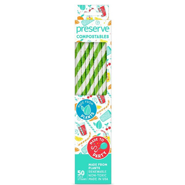 Preserve Compostables Straws Green