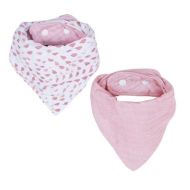 Bebe au Lait Muslin Bandana Bib Rose Quartz & Petal
