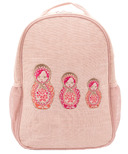 SoYoung Pink Linen Embroidered Dolls Toddler Backpack
