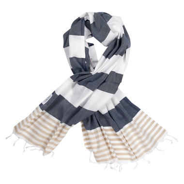 Lualoha Turkish Towel Striped Goodness Navy & Sand