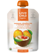 Love Child Organics Pouch with Mango & Strawberry & Ginger + Coconut Cream