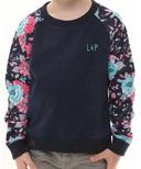 L&P Apparel Cotton Crew Neck Sweatshirt Navy & Flower