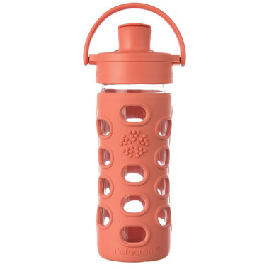 Lifefactory Glass Bottle with Active Flip Cap & Persimmon Sleeve