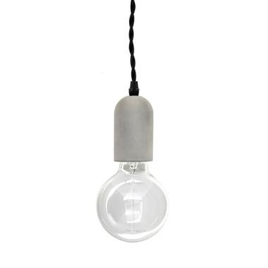 Kikkerland Concrete Pendant Lamp Cylinder