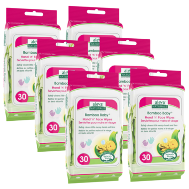 Aleva Naturals Bamboo Baby Hand \'n\' Face Wipes 5 + 1 Pack