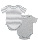 Kushies Short Sleeve Bodysuit Light Grey Stripes & Blue