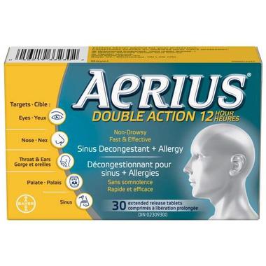 Aeirus Dual Action 12 Hour Non-Drowsy Allergy+Sinus