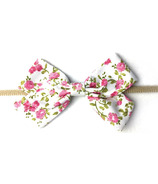 Baby Wisp Floral Fabric Bow HandBand Pink