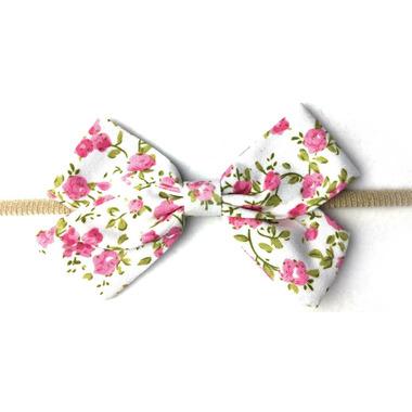 Baby Wisp Floral Fabric Bow HandBand Pink