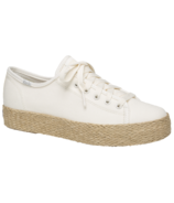 Keds Women's Triple Kick Canvas Jute Platform Sneaker White