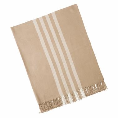 Mud Pie Taupe Stripe Throw Blanket