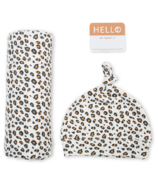 Lulujo Hello World Blanket & Knotted Hat Cheetah