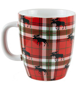 Little Blue House Curved Ceramic Mug Moose on Plaid