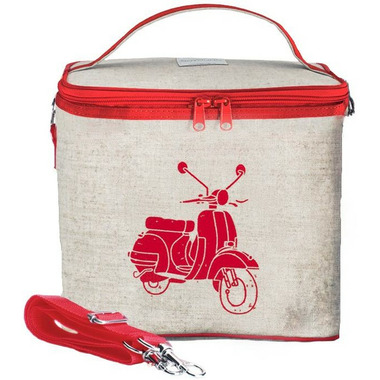 SoYoung Raw Linen Red Vespa Scooter Large Cooler Bag