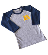 North Standard Trading Post Kids Baseball Tee Grey + Navy + Golden Yellow