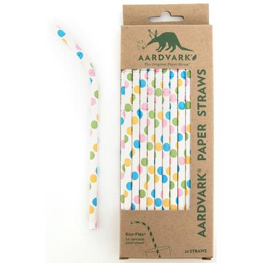 Aardvark Biodegradable Paper Straws Confetti Dots
