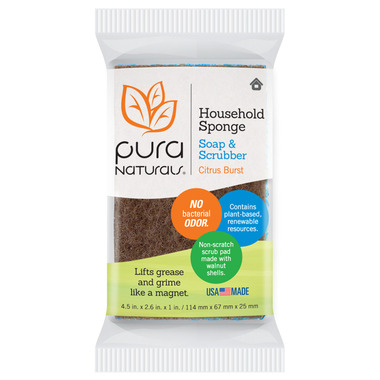 Pura Naturals Household Soap-Infused Sponge with Scrubber Citrus Burst