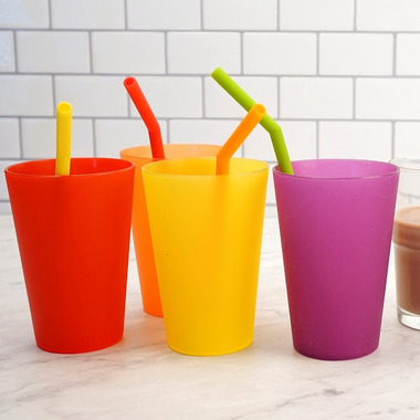 RSVP Silicone 6 1/2in Silicone Straw Set With Brush