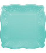 Elise Embossed Square Banquet Plate Teal