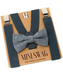 Mini Swag Solid Gray Bow Tie & Suspenders Set