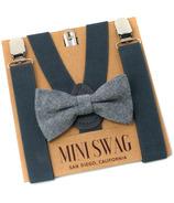 Mini Swag Solid Gray Bow Tie & Suspenders Set