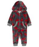 Hatley Little Blue House Infant Hooded Fuzzy Fleece Jumpsuit Moose