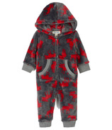Hatley Little Blue House Infant Hooded Fuzzy Fleece Jumpsuit Moose