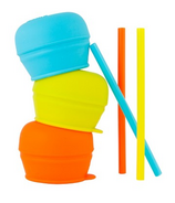 Boon Snug Straw Lids Orange Multi