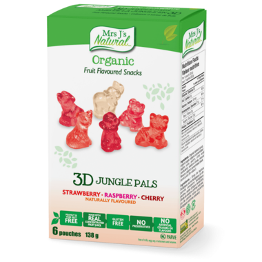 Mrs J\'s Natural Organic 3D Jungle Pals Fruit Flavoured Snacks