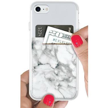iDecoz Phone Pocket White Marble Faux Leather