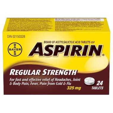 Aspirin 325mg Regular Strength Tablets Small Bottle