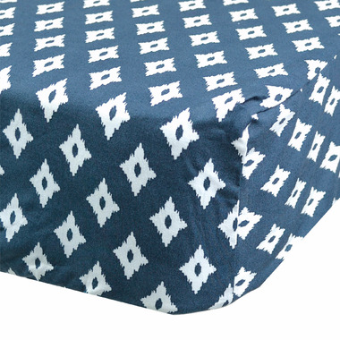 Perlimpinpin Fitted Crib Sheet Navy Diamonds