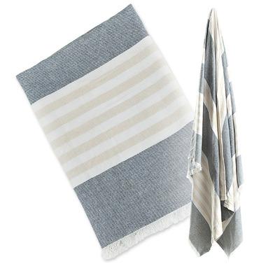Lulujo Turkish Towel Classic Navy and Oatmeal
