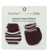 True Two x L'ovedbaby Organic Cotton Mittens Eggplant Stripe