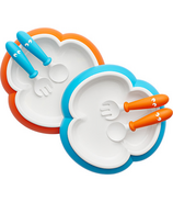 BabyBjorn Baby Plate, Spoon and Fork Set Orange & Turquoise