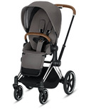 Cybex Priam Chrome Brown Frame with Manhattan Grey Seat Pack