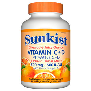 Sunkist Vitamin C + D Chewable Juicy Orange