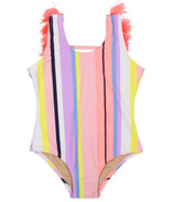 Shade Critters One Piece Swimsuit Fringes Back Coral Stripe