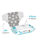 The Honest Company Panda Print Diapers & Wipes Bundle Size N