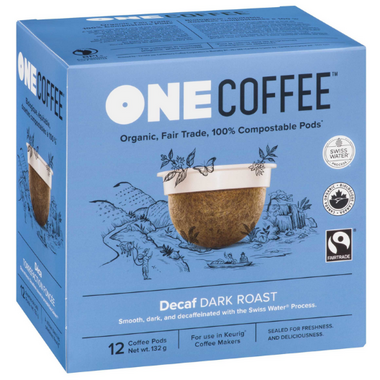 OneCoffee Organic Single Serve Coffee Dark Roast Decaf