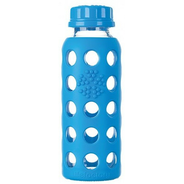 Lifefactory Glass Baby Bottle with Flat Cap and Silicone Sleeve Ocean