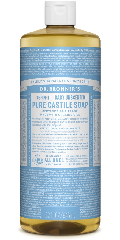 Dr  Bronner's Organic Pure Castile Liquid Soap Baby Unscented 32 Oz