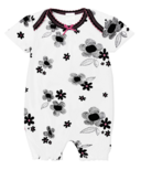Kushies Girl Romper Black, White and Pink Print