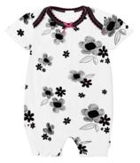 Kushies Girl Romper Black, White and Pink Print