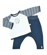 Perlimpinpin Quilted Bamboo T-Shirt And Lounge Pants Navy Sticks