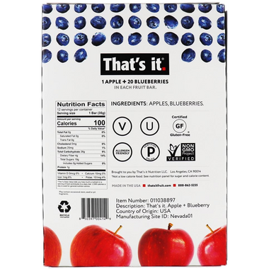That\'s it. 1 Apple + 20 Blueberries Fruit Bar