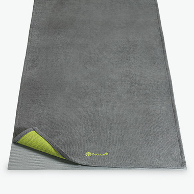 Gaiam Grippy Yoga Mat Towel Grey & Citron